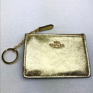 COACH Gold Leather Skinny Mini ID Case Key Chain